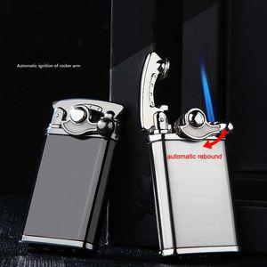 Creative Metal Torch Lighters Windproof Gas Lighter Rocker Arm Automatic Ignition Cigarette Lighter Gift Cigar Butane Lighters VTKY2381