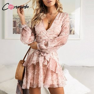 Conmoto Vintage Print Summer Dresses Female Elegant Party Short Dress Bow Sexy Ruffles Chiffon Dress Women Vestidos 2 Colors 201022