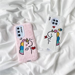 Fashion Pink plush Girl Phone Case For iphone 11 Pro Max 7 8 plus X XR XS Max Cute Cartoon Animal Soft Cover Gift