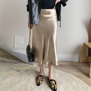 Bella Philosophie Jaune Violet Soie Satin Satin Trompette Taille haute Silver Gold Or Métallique Couleur Jupe Jupe Lj201029