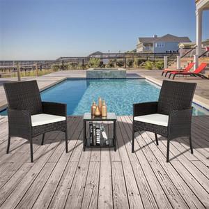 Patio Terrasse couverte Meubles Ensembles 3 Pièces PE rotin chaises en osier avec table de jardin Ensembles de meubles