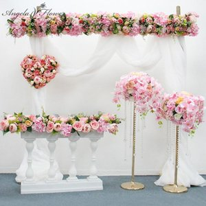 Orginal Design 50 100cm Artificial Flower Row Wedding Backdrop Decor Flower Arrangement Table Runner For Party Event Stage Props