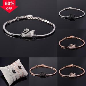 KLGBm Stainless Steel Set Necklace Swarovsk Mens 925 sterling silver bracelet Bracelet swan Black Byzantine Chain skeleton silver gold color