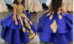 Amazing Gold 3D Floral Flower Royal Blue Little Girls Pageant Dresses 2021 Ball Gown Cupcake Infants Flower Girls First Communion Dress