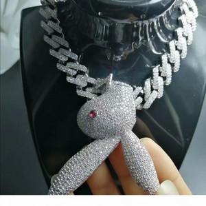 Hip Hop Jewelry Iced Out Pendant Diamond Tennis Cuban Link Chain Mens Luxury Designer Necklace Bling Rabbit Big Pendants Rapper Hiphop Boy