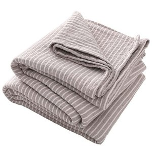 Cotton Yarn Japan Summer Plaid Blanket for Bed Sofa Stripe Kid Bedspread Outdoor Camping Quilt