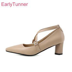 Sale 2020 Brand New Mature Apricot Black Women Pumps Fashion High Block Heels Lady Shoes Plus Big Small Size 11 30 43 45 48