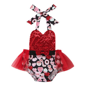 Valentine Baby Girls Rompers INS Infant Sleeveless Vest Sequins Straps Jumpsuits Dress Summer Lovely Boutique Kids Floral Climbing Clothes
