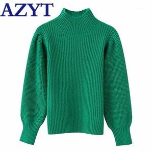 Azyt Outono Turtleneck Sólido Suéter das Mulheres 2020 Harajuku Solta Streetwear Feminino Camisola Casaco Knitwear Tops1
