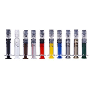 Colorful Glass Syringe 1ml with Luer Lock 1CC Measurement Mark Acrylic Injector for Thick Oil Vape Cartridge Prefilling