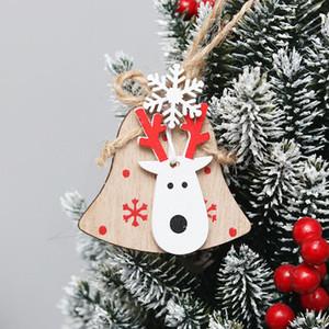 4 Pcs Christmas Tree Hanging Decoration Wooden Adorable Elk Head Hanging Decor Wooden Hangings Xmas Ornament Wooden Hangings wmtXMh