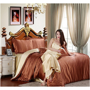 Wholesale- Hot! 100% Pure Satin Silk Bedding Set,home Textile Twin Queen King Size Bed Set,bedclothes,duv jllASE outbag2007