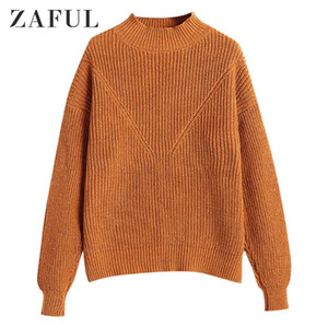 ZAFUL FOLY COLOR Drop Schulter gestrickt Pullover Pullover Casual Cottle Pullover Rundkragen Elastische Weibliche Pullover Tägliches Outfit