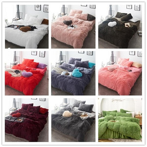 Coral Fleece Bed Sheet Winter Thicken Four-piece Bedding Set Designer Bed Comforters Sets Flannel Coral Fleece Bed Sets DHE1420
