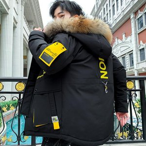 Winter Men's Long Sleeve Cotton Jacket Youth Slimming Fit Male Fur Collar Thickened Cotton Coat Hooded Badge Work Clothes