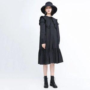 2020 New Dark Series Dress Loose Grande Lotus Folha Collar Preto Slimming Yamamoto Estilo Francês Vestido
