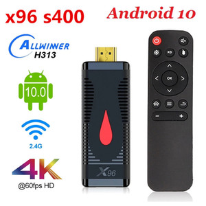 2020 X96 S400 TV Vara inteligente Android 10,0 Quad Core Allwinner H313 Quad-core Wifi 1080P LPDDR3 4K 2GB 16GB 60fps TV Dongle
