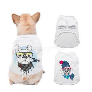 Сублимационные пустые белые DIY домашнее животное без рукавов тонкий жилет маленький домашний теплопередат от печати домашняя футболка одежда одежда оптом