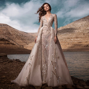 Zuhair Murad Wedding Dresses with Detachable Train Lace Sequined Beads A Line Robe De Mariée Long Sleeves Customize Country Bridal Gowns