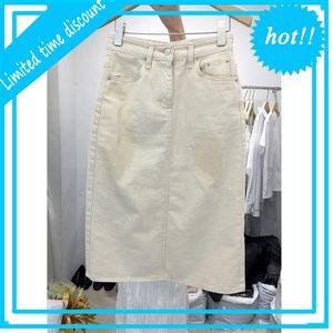 South Korea dongdamen 2020 spring and autumn new fashion split white denim women's high waist buttock A-line skirt