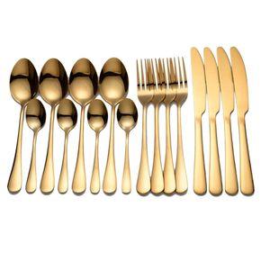 Tablewellware Knife Tableware Stainless Steel Cutlery Golden Fork Spoon Dinnerware Set