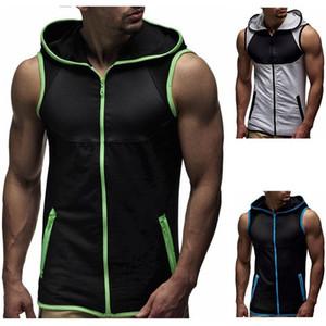 hoodie des hommes PADEGAO t-shirt à capuche zippée réservoir Cardigan en vrac tête de fitness Casual veste culturisme Stringer tee réservoir