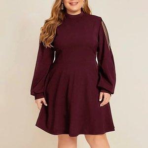 2019 Printemps Hiver Femmes Robe élégante Taille Plus solides manches longues O-cou Robe en dentelle Sexy Party Nuit Robes Vestidos # J30