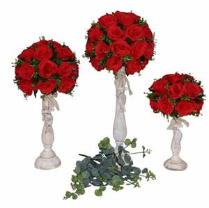 2021 Centro de la tabla del banquete de boda de la bola Road Flower boda plomo contexto de la boda artificial Flore pieza central de la decoración 3 de la flor del tamaño / set