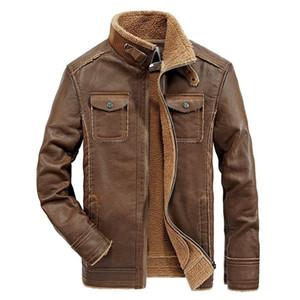 الشتاء الرجال فو الجلود معطف نحى سميكة رجالي جاكيتات الرجال دراجة نارية سترة جلدية متعددة جيب معاطف قميص طلاء