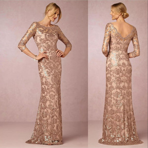 New Bling Rose Gold Sequined Lace Mother of the Bride Dresses Jewel Lace Appliques V Back Evening Party Dress Formal Wedding Guest Gowns