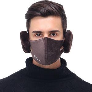 6 colors 2 in 1 Unisex Mouth Muffle Fashion Earmuffs Masks dustproof face mask Outdoor Winter Warm Windproof Half Mask YYA521