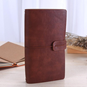 Solid Color Leather Notebook Handmade Vintage Diary Journal Books Retro Travel Notepad Sketchbook Office School Supplies Gift VT0939