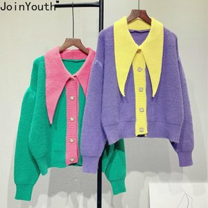 Joinyouth Sweet Chic Punto Cardigan 2021 Coreano Knistar Suéter Patchwork Contraste Color Roupas Tops Tops Coat