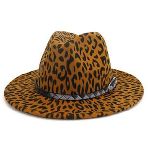 leopard fedora hats men woemn western cowboy jazz caps street band belt buckle luxury hip hop felted winter women hats men new