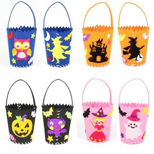 Halloween DIY Candy Bag Kinder-Kürbis-Hexe Schloss Geist Candy Bag Kindergarten Craft Spielzeug DIY Handgemachter materieller Süßigkeiten Korb DHC1881