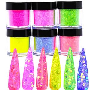 1 Jars  6 Colors Iridescent glitter ACRYLIC POWDER 2021 Flirt Hot Pink Nail Glitter Girls Just Wanna Acrylic Nail Dip