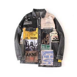 LANMREM can ship Tide Loose denim Coat Woman autumn fashion new Popular Printing Personality all-match hip hop jacket YJ003 201013