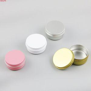 30 PCS / LOTE 50G Metal Face Cream Jar Candy Pequeño con buen sello Blanco Vela de aluminio Paquete Paquete Producto