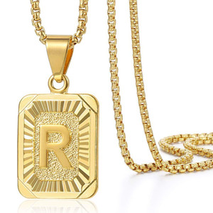 Initial Letter Pendant Necklace Mens Womens Capital Letter Yellow Gold Plated A Z Stainless Steel Box Chain 23.5inch dropshipping