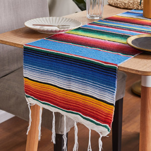 14x84 pulgadas MEXICAN SERAPE TABLE TRABAJA Cubierta de tela Fringe Cotton Table Runner para la decoración de la boda del partido mexicano 221 J2