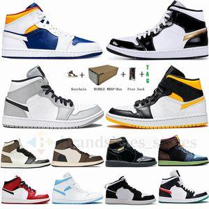 2021 Jumpman 1 MID Баскетбольные Обувь для мужчин Женщины 1S UNC Smoke Grey Royal White USA Olympic High Og Tark Mocha Travis Scotts Sneks 36-47