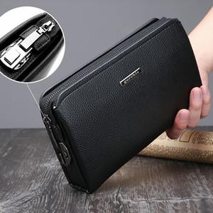 Anti-vol Password Lock Pu Sac en cuir Homme bourse d'embrayage hommes grande capacité de portefeuille d'affaires Sac à main Casual