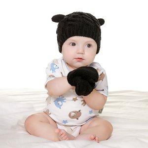 Baby Knited Hat Gloves Set Outdoor Winter Warm Beanie Solid Warm Cute Ear Shape Knitting Soild Color Cap Gloves For 0-3 Years Kid LJJP736-2