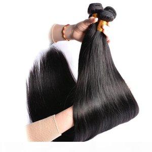 MODERN إظهار العذراء المنك البرازيلي يحاول 28inch مستقيم موجة لحمة بيرو مستقيم الإنسان حزم الشعر مع 4 * 4 الرباط إغلاق