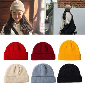 Luxury-Unisex Knitted hat Cuffed Short Melon Cap Solid Color Skullcap Baggy Retro Ski Fisherman Docker Beanie Hat Slouchy cny1539