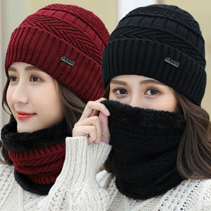 Women's Knitted Hat Scarf Caps Neck Warmer Winter Hats For Men Women Skullies Beanies Warm Fleece Cap 6 Colors k323