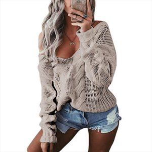 Spring deep V Neck Knitted Sweaters Women Long Sleeve Off Shoulder Sweater Femme outwear Sweater 2020 Drop Shipping