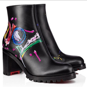 Elegant Love Me Boot Women Chunky Heels Red Bottom Ankle Boots Lady Red Sole Booties Graffiti Leather Party Wedding Dress EU35-43,Box