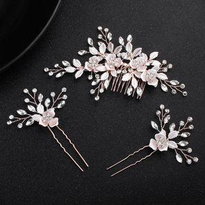 NPASON Rose Gold Floral Bridal Hair Comb Pins Set Crystal Wedding Hair Piece Accessories Women Prom Headpiece