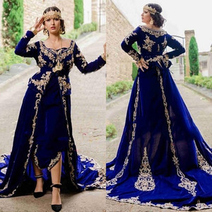 Royal Blue Algerian Caftan Evening Dress Morocco Velvet long sleeve peplum gold Appliqued Lace Outfit Prom Party Gowns